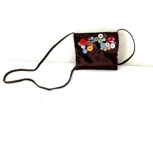 Handmade Button Accented Purse Removable Lining